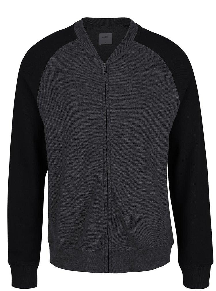 Černo-šedá lehká mikina na zip Burton Menswear London