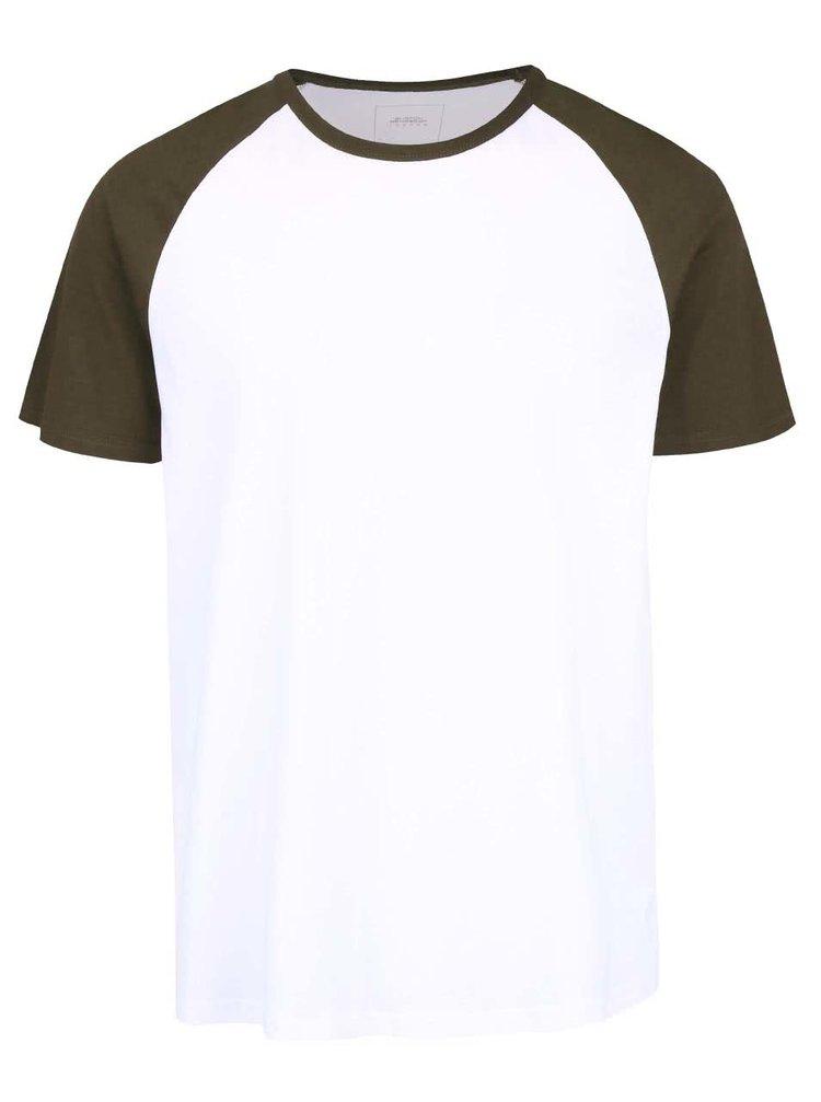 Bílé triko se zelenými rukávy Burton Menswear London