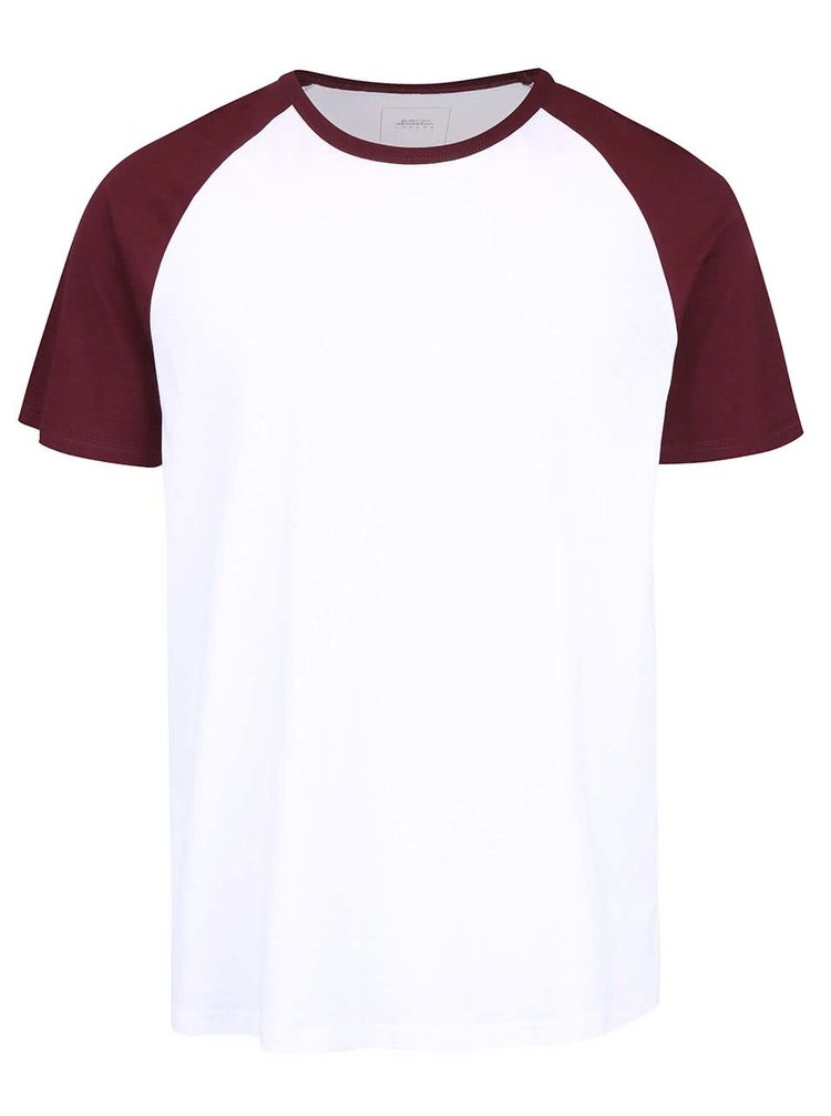 Bílé triko s vínovými rukávy Burton Menswear London