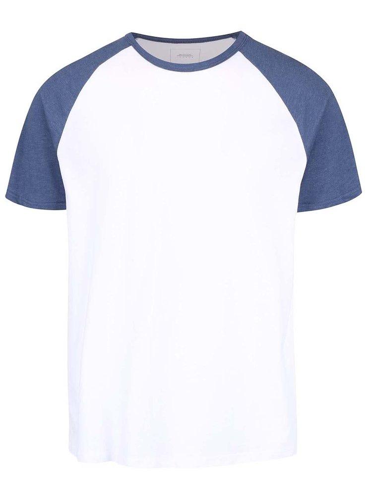 Bílé triko s modrými rukávy Burton Menswear London