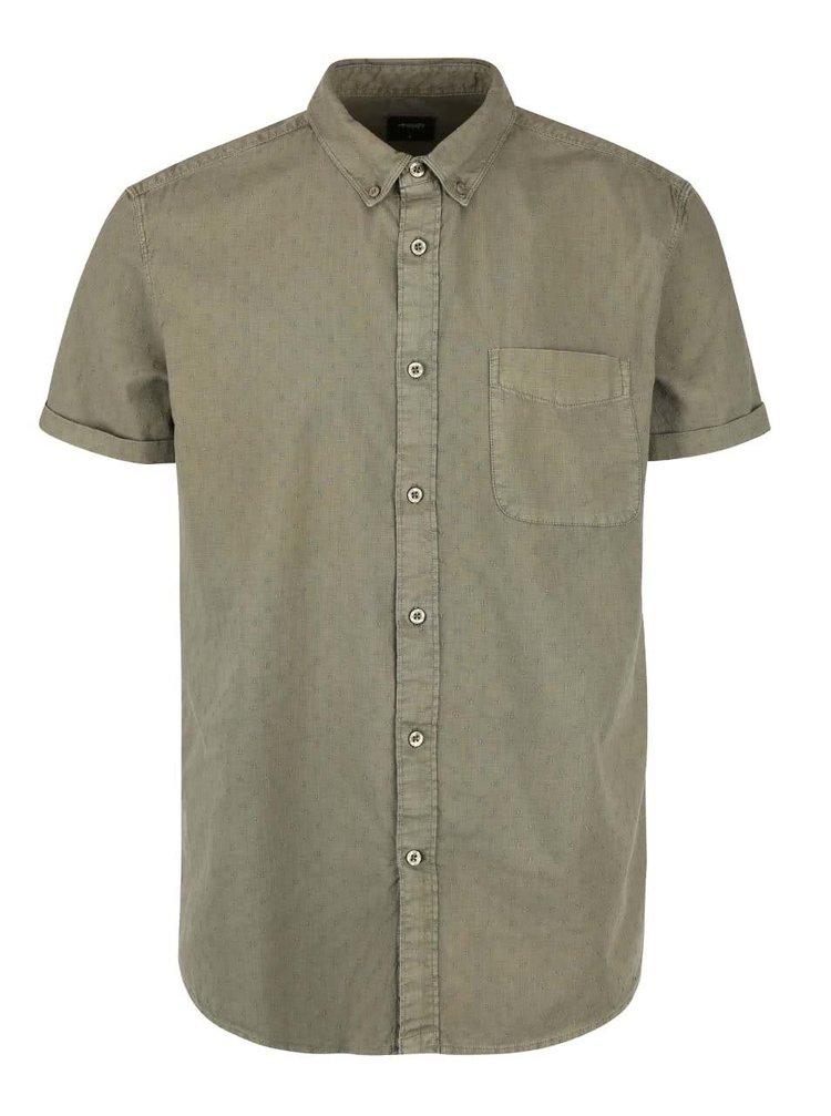 Khaki vzorovaná košile s kapsou Burton Menswear London