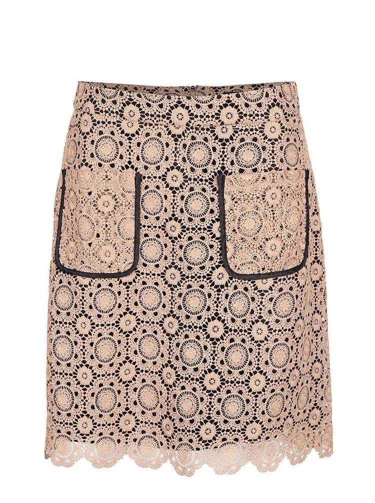 Černo-béžová krajkovaná sukně s kapsami Dorothy Perkins