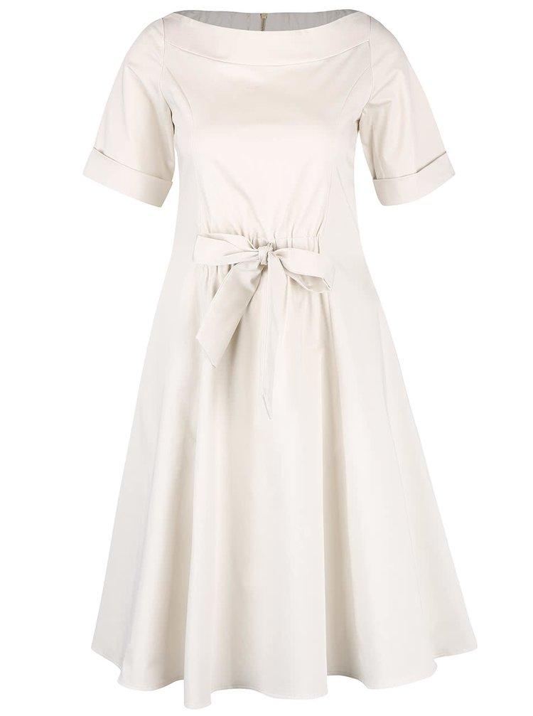 Krémové šaty s mašľou v páse Closet