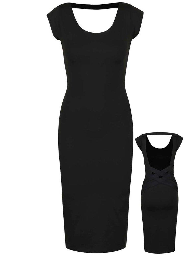 Čierne elastické šaty s odhaleným chrbtom Quontum