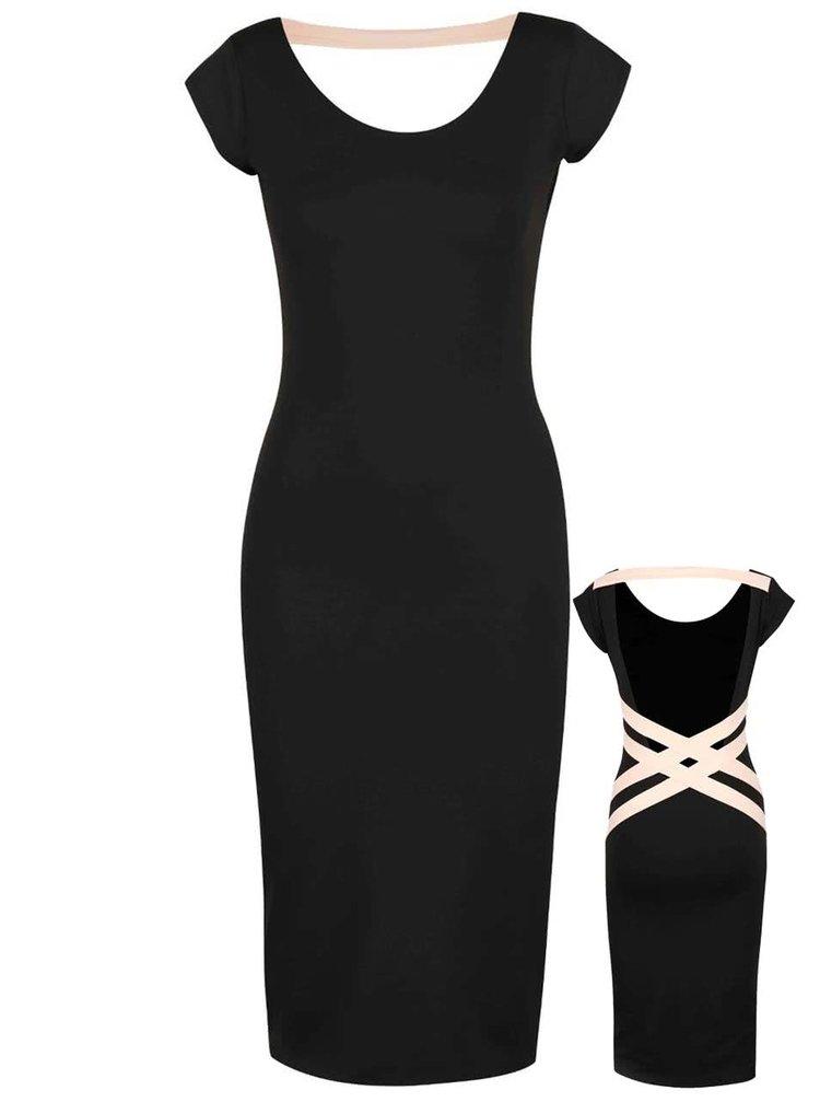 Marhuľovo-čierne elastické šaty s odhaleným chrbtom Quontum