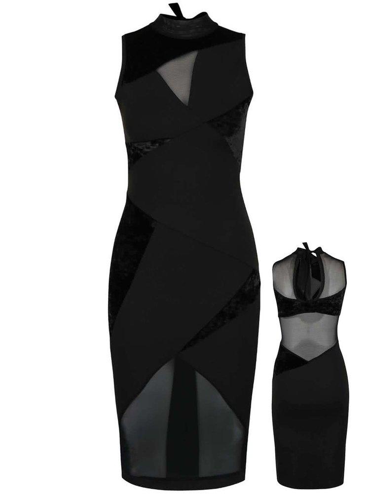 Rochie neagră Quontum cu inserții asimetrice