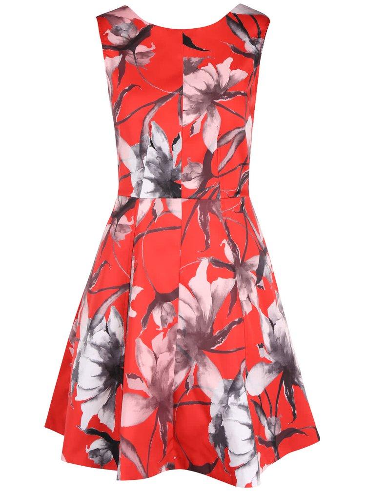 Červené květované šaty Closet