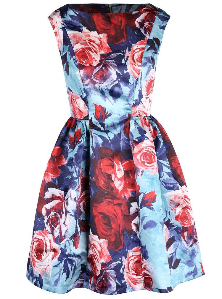 Modré šaty s potlačou ruží Closet