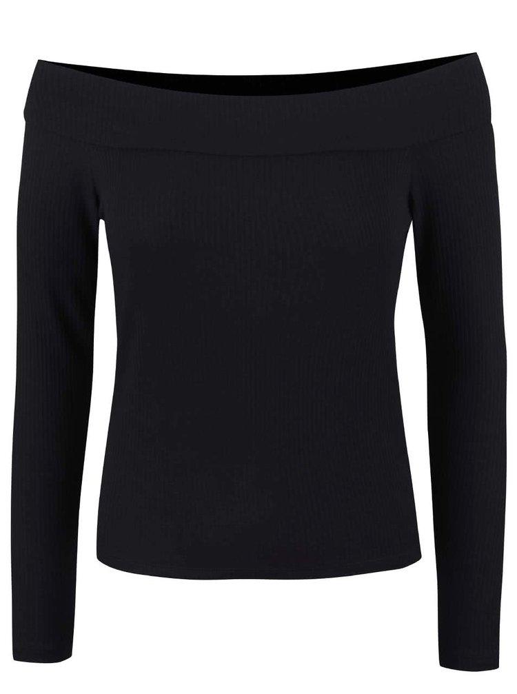 Černý kratší top s odhalenými rameny Miss Selfridge