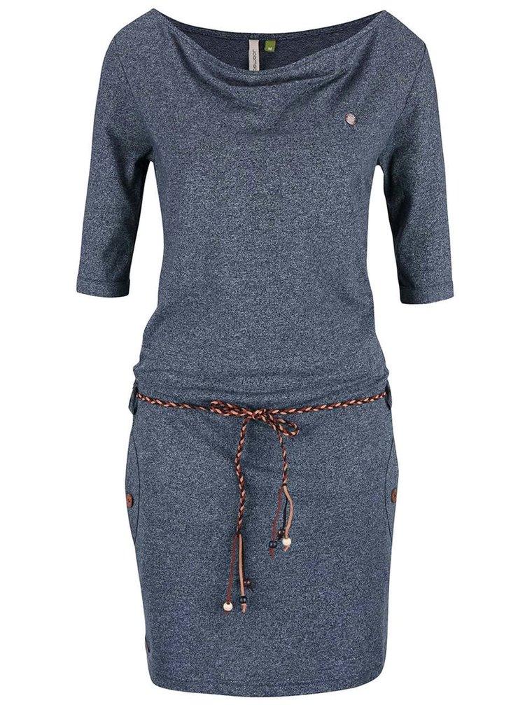 Tmavě modré žíhané šaty s páskem Ragwear Tanya Organic