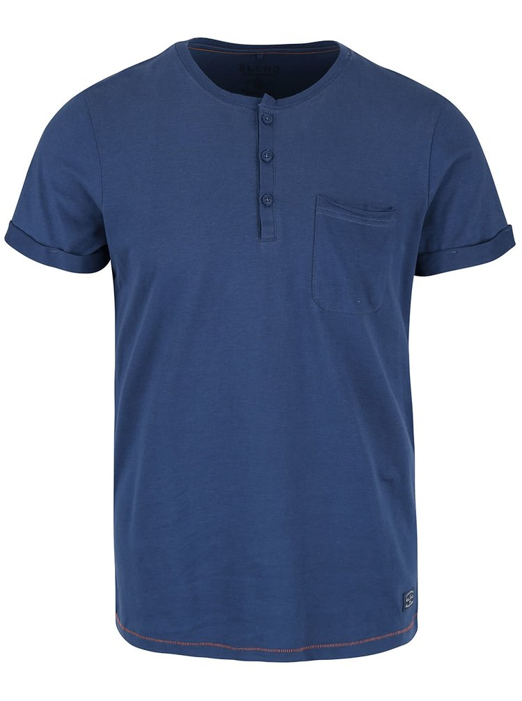 Tricou albastru din bumbac Blend cu buzunar