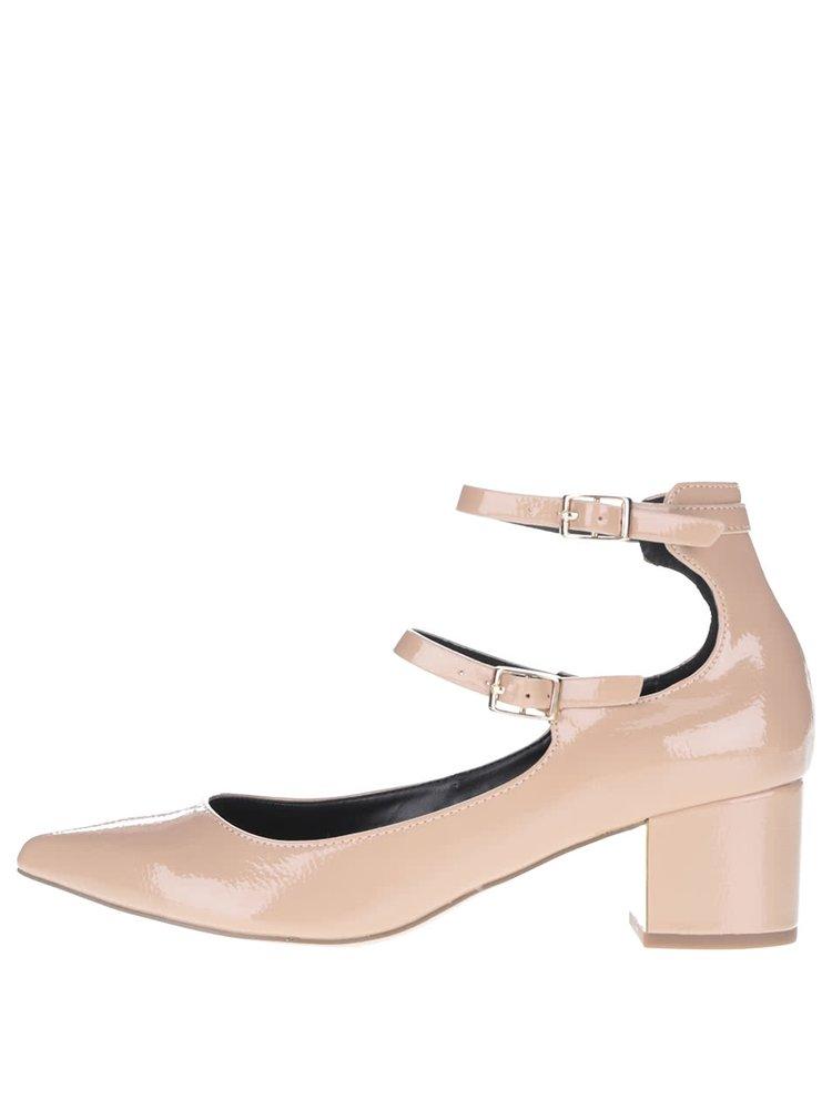 Telové topánky na podpätku s remienkami Miss Selfridge