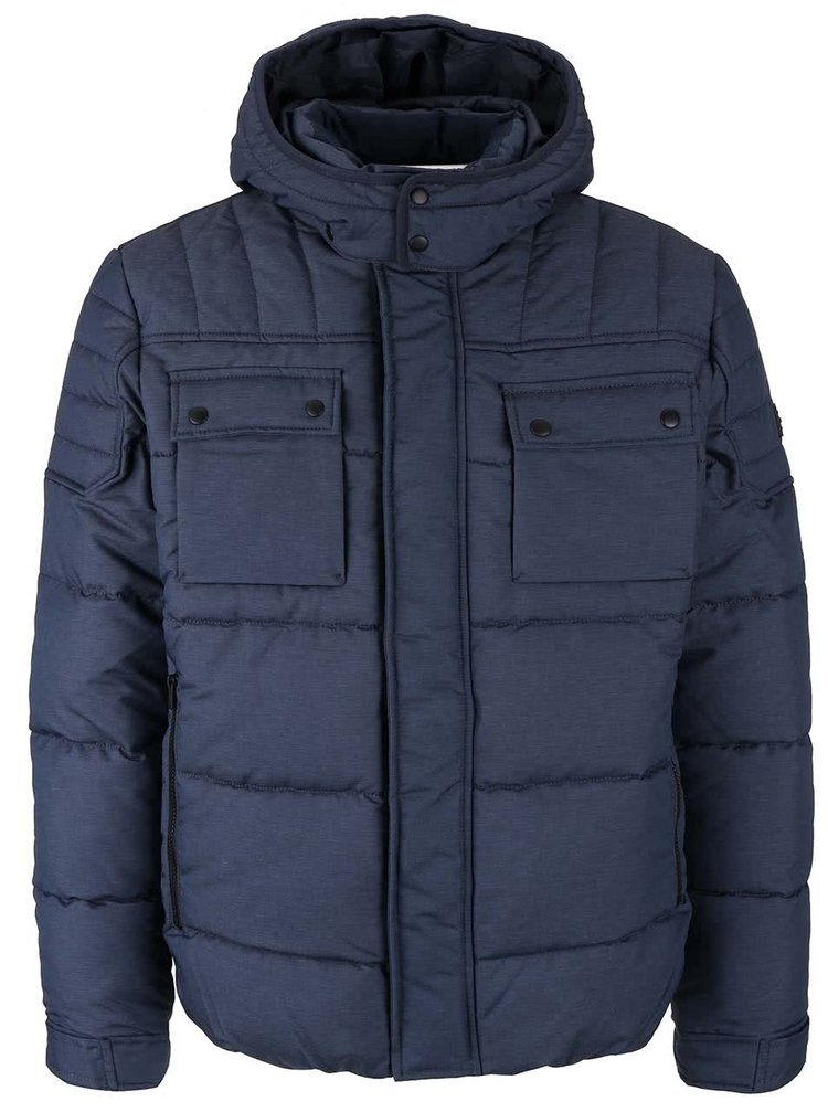 Tmavě modrá prošívaná zimní bunda s kapucí Jack & Jones Ocam