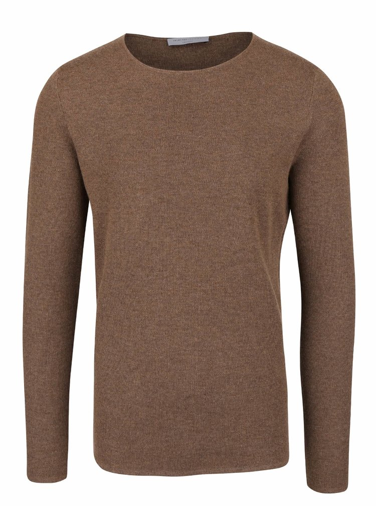 Hnědý svetr s kulatým výstřihem Selected Homme Austin