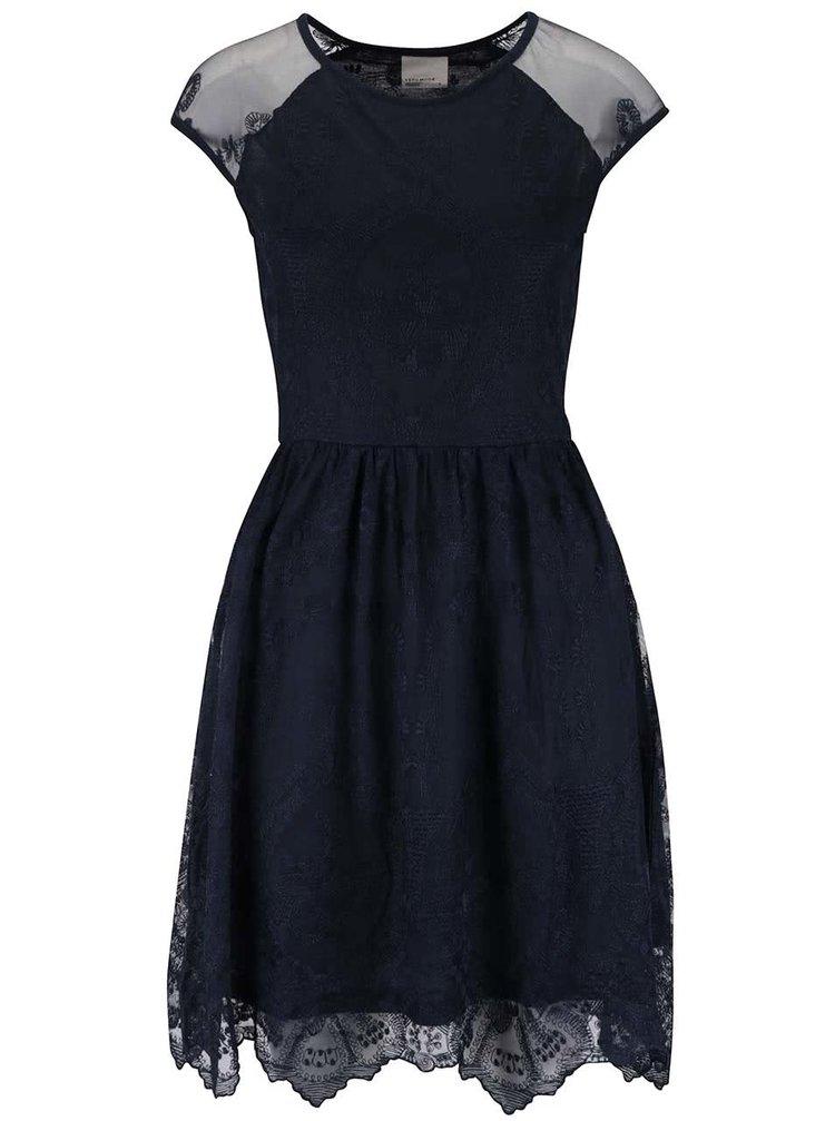 Tmavě modré krajkované šaty VERO MODA Maggi