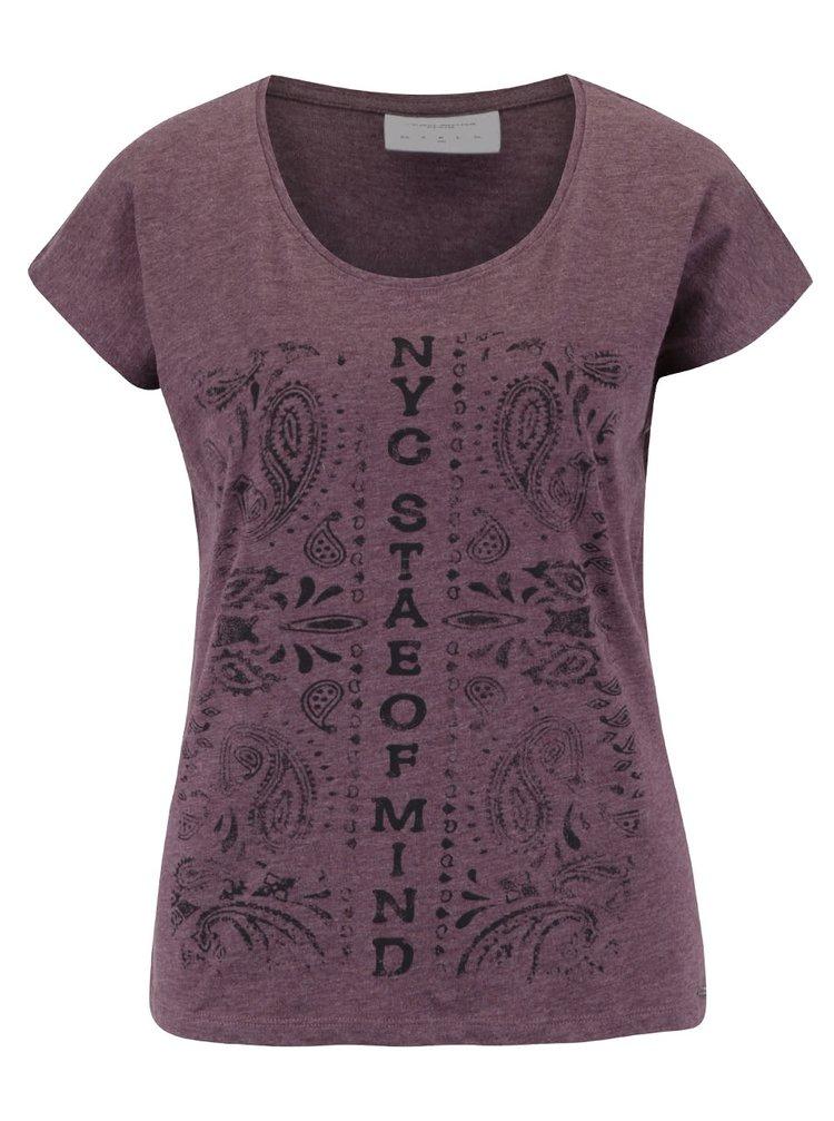 Vínové žíhané tričko s potiskem VERO MODA Bella