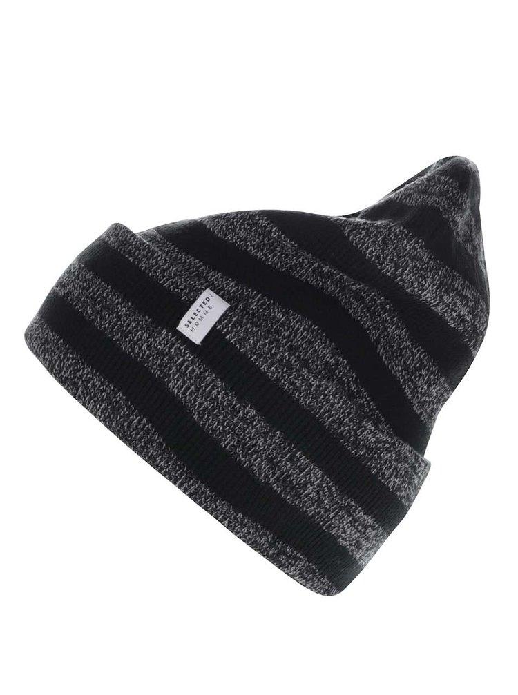 Černo-šedá pruhovaná čepice Selected Homme Nethan