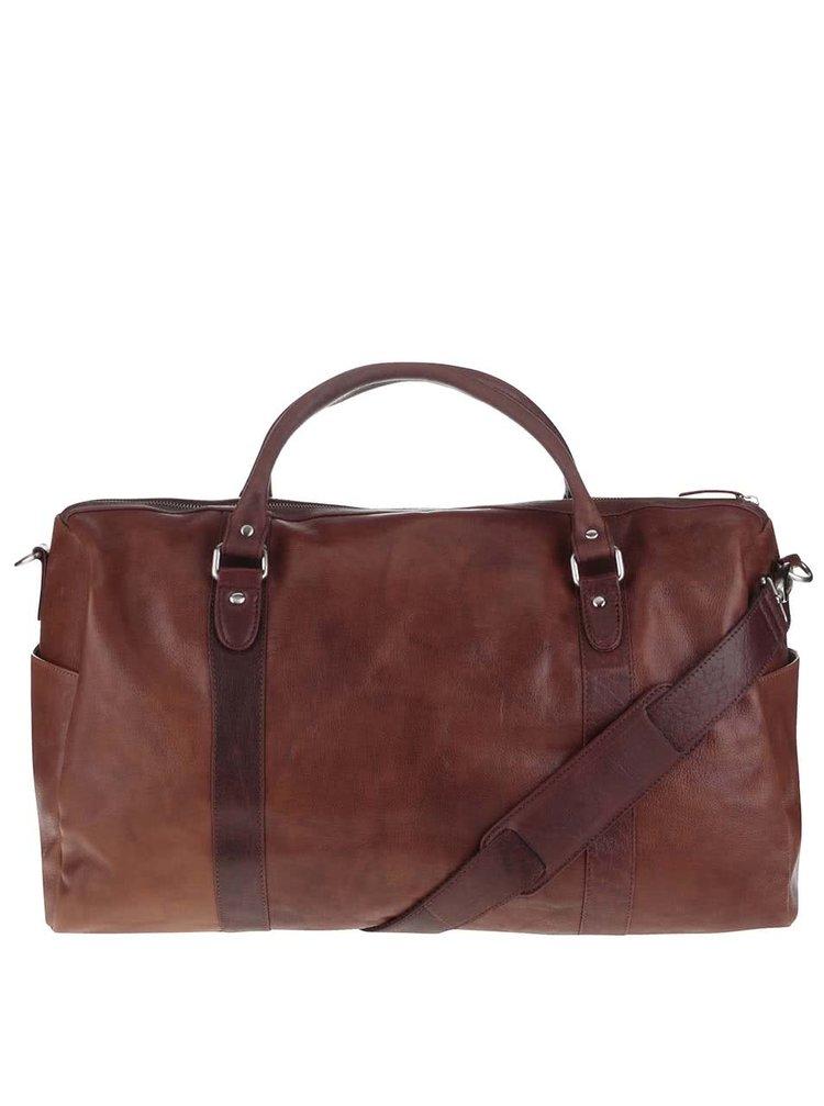 Světle hnědá pánská kožená cestovní taška Lucleon California