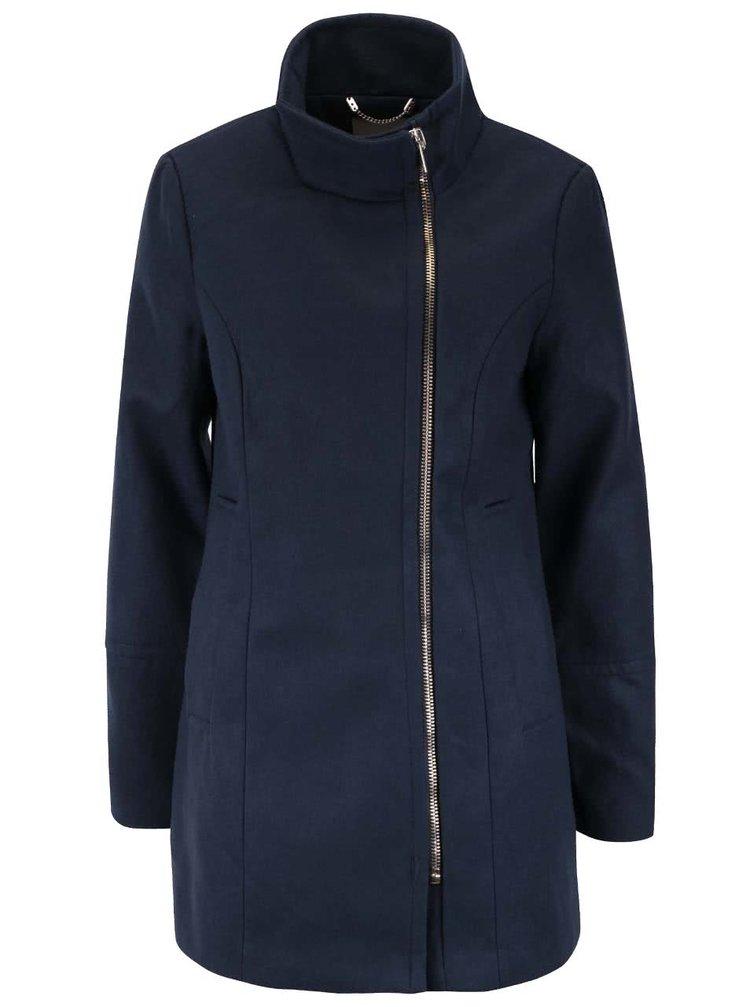 Tmavomodrý kabát so zipsom v zlatej farbe VERO MODA Veraliga
