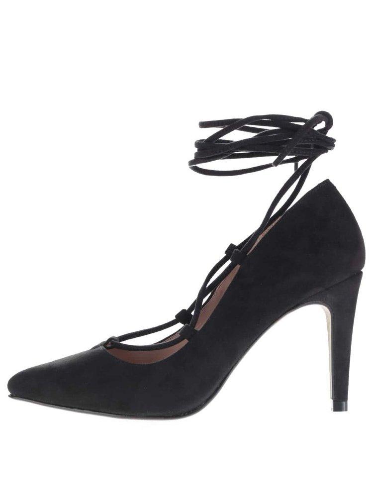 Pantofi cu toc OJJU negri cu șiret