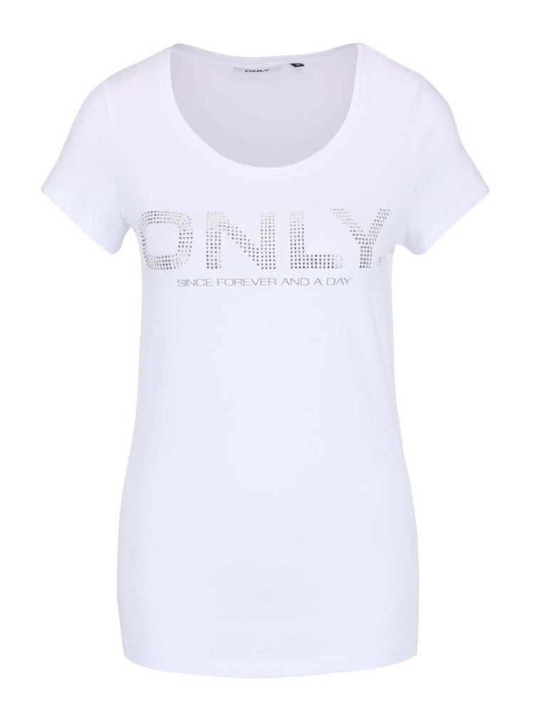 Bílé tričko s aplikací ve stříbrné barvě ONLY Helene