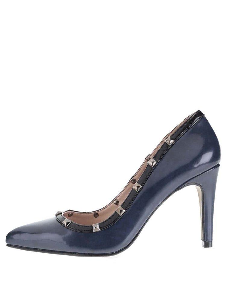 Tmavomodré topánky na podpätku s cvočkami OJJU