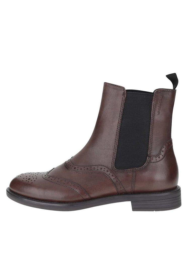 Hnedé dámske kožené chelsea topánky s brogue detailmi Vagabond Amina