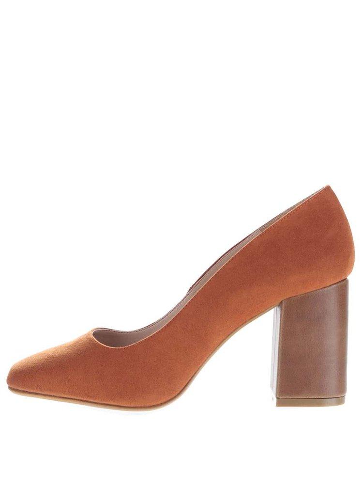 Pantofi maro camel cu toc OJJU din piele întoarsă