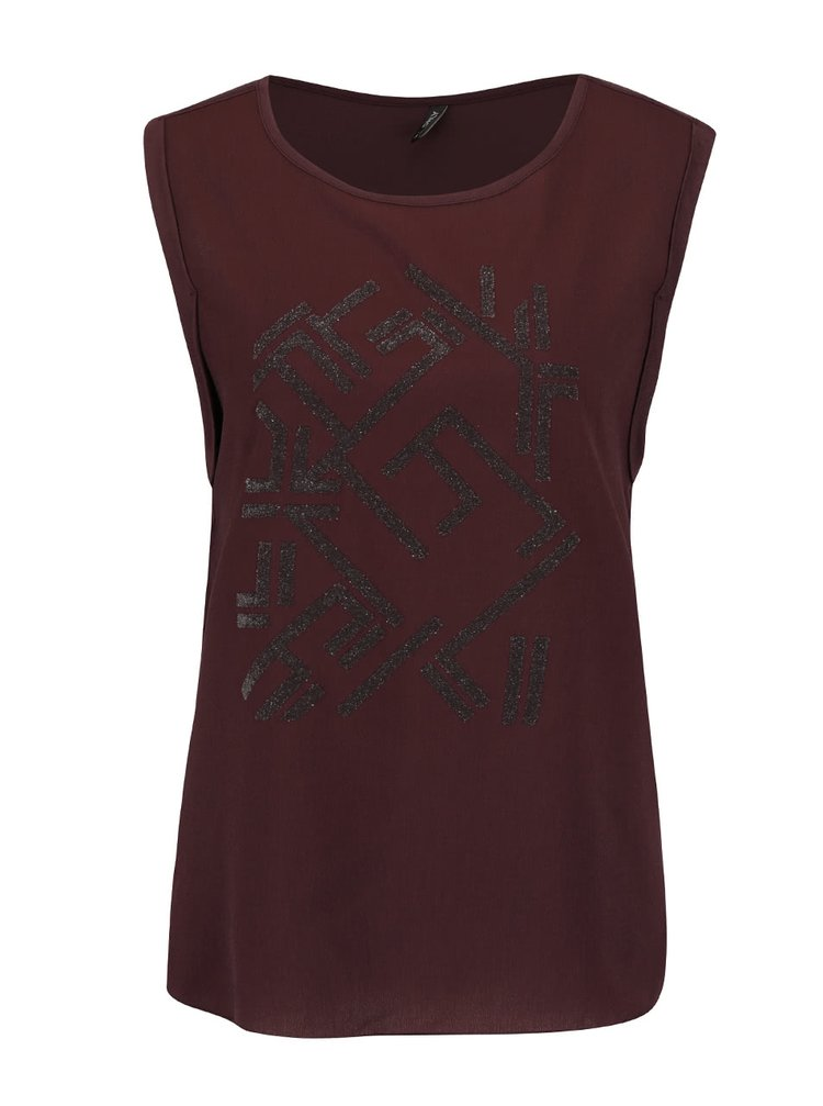 Tmavě fialové tričko s třpytivým potiskem ONLY Mynte
