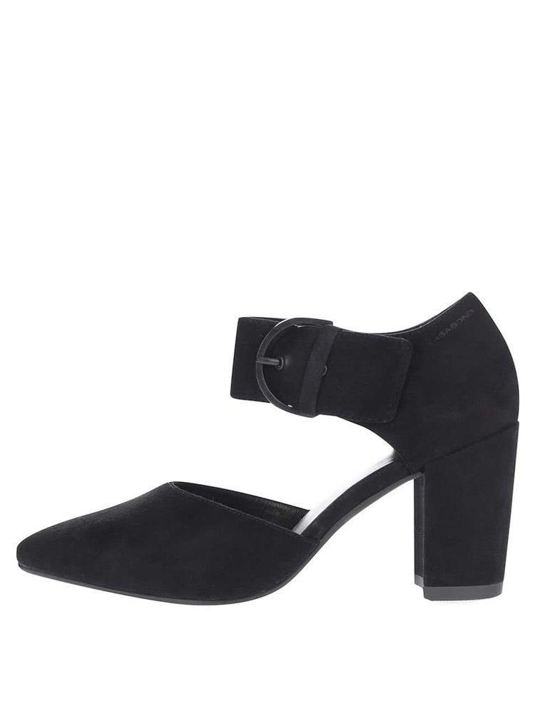 Čierne semišové topánky na podpätku so širokým remienkom Vagabond Saida