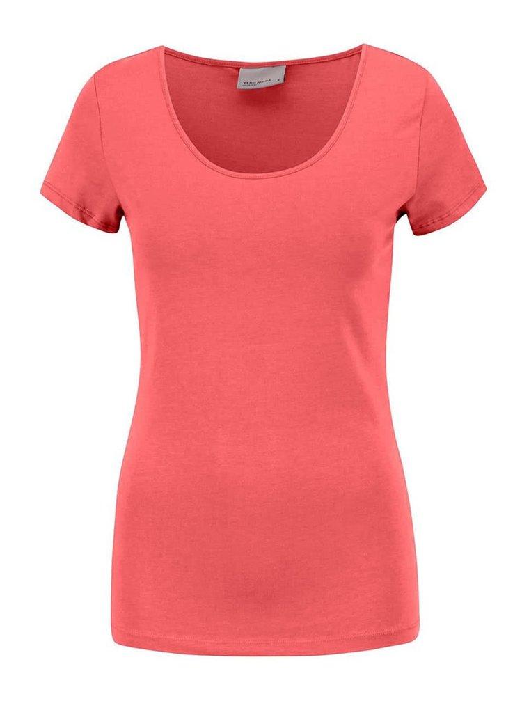 Tmavoružové tričko s krátkym rukávom VERO MODA Maxi My