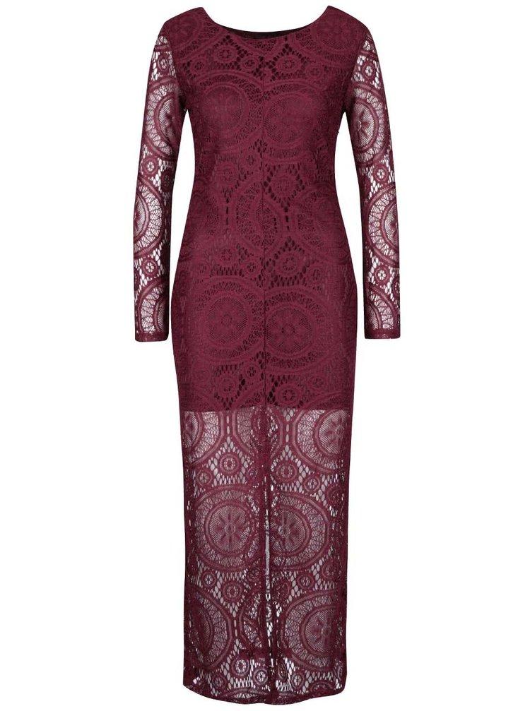 Vínové čipkované dlhé šaty Mela London
