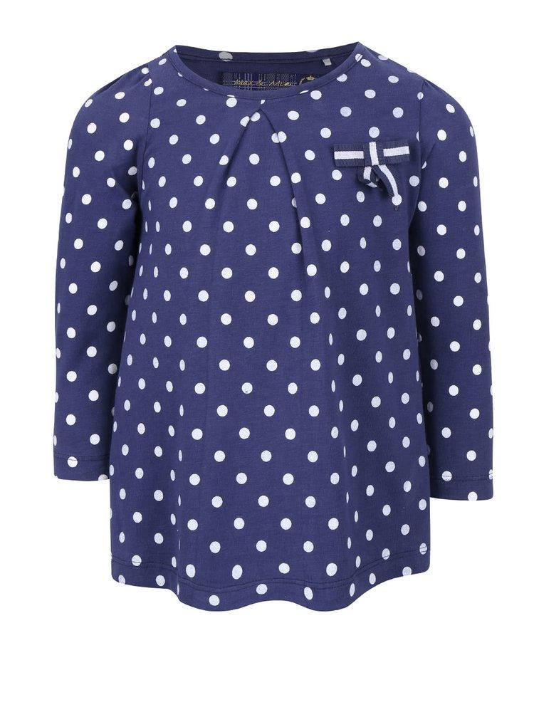 Tmavomodré dievčenské bodkované tričko s dlhým rukávom 5.10.15.