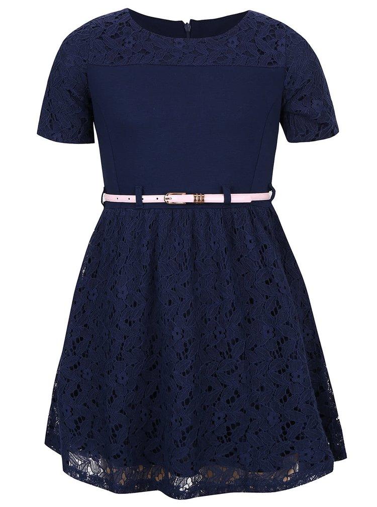 Tmavomodré dievčenské šaty s čipkou 5.10.15.