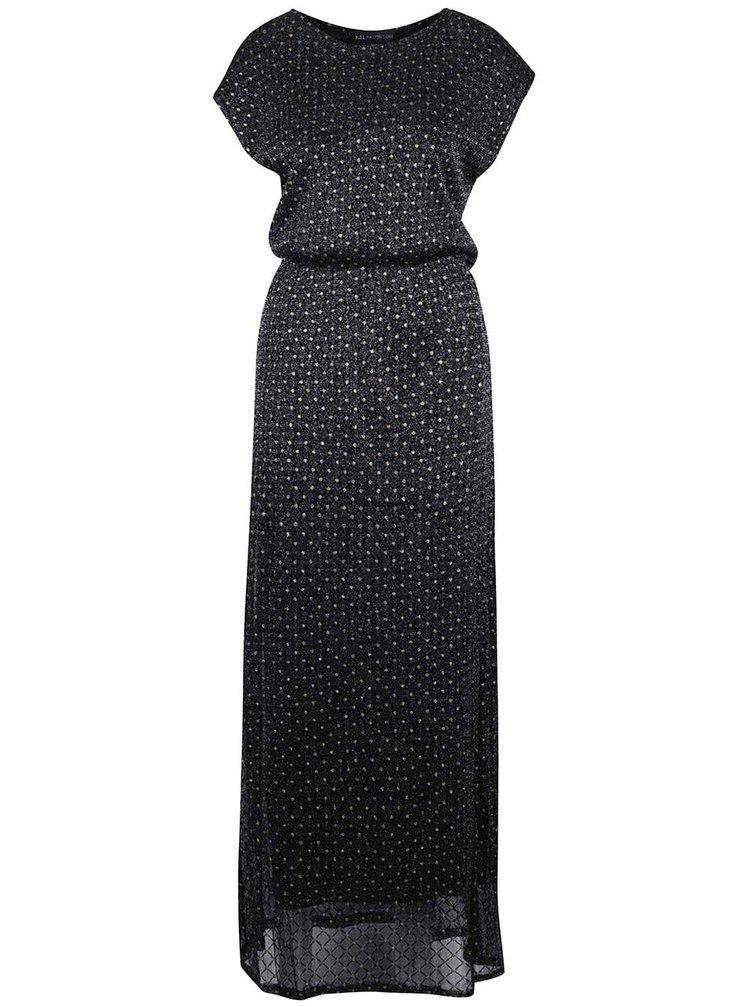 Čierne trblietavé maxi šaty s bodkami v zlatej farbe Mela London