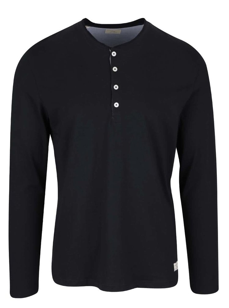 Čierne tričko s dlhým rukávom Selected Homme Niklas