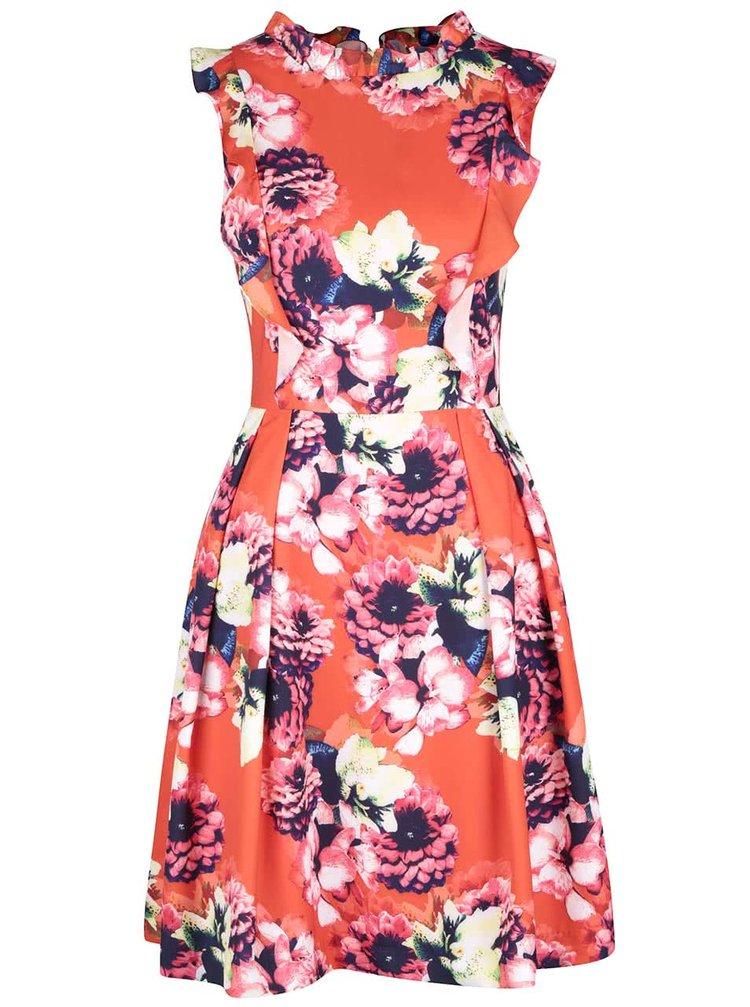 Oranžové kvetované šaty s volánikmi Wolf & Whistle