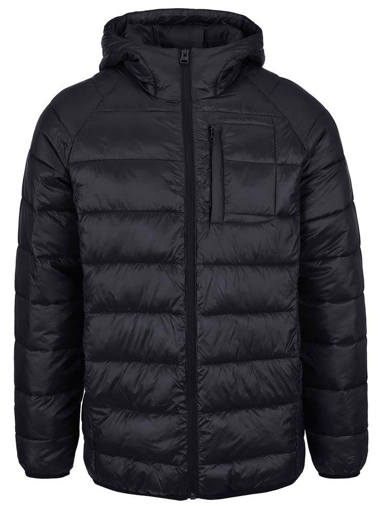 Jachetă neagră Shine Original matlasată cu glugă