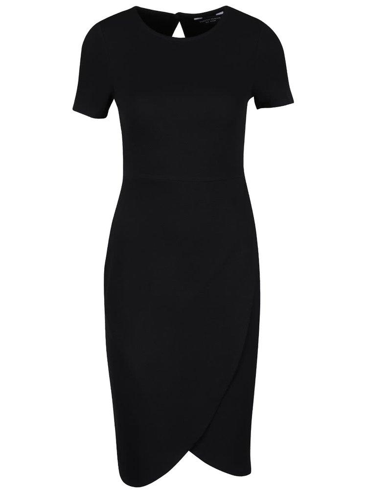 Černé šaty s překládanou sukní Dorothy Perkins