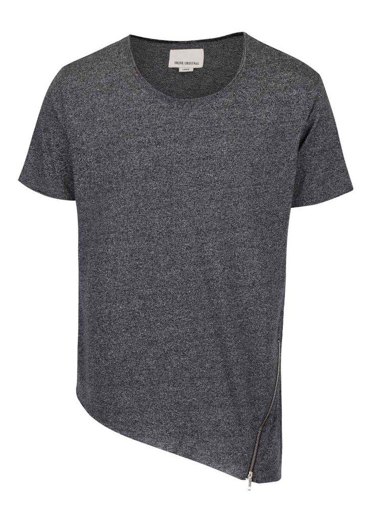 Čierne asymetrické tričko s ozdobným zipsom Shine Original