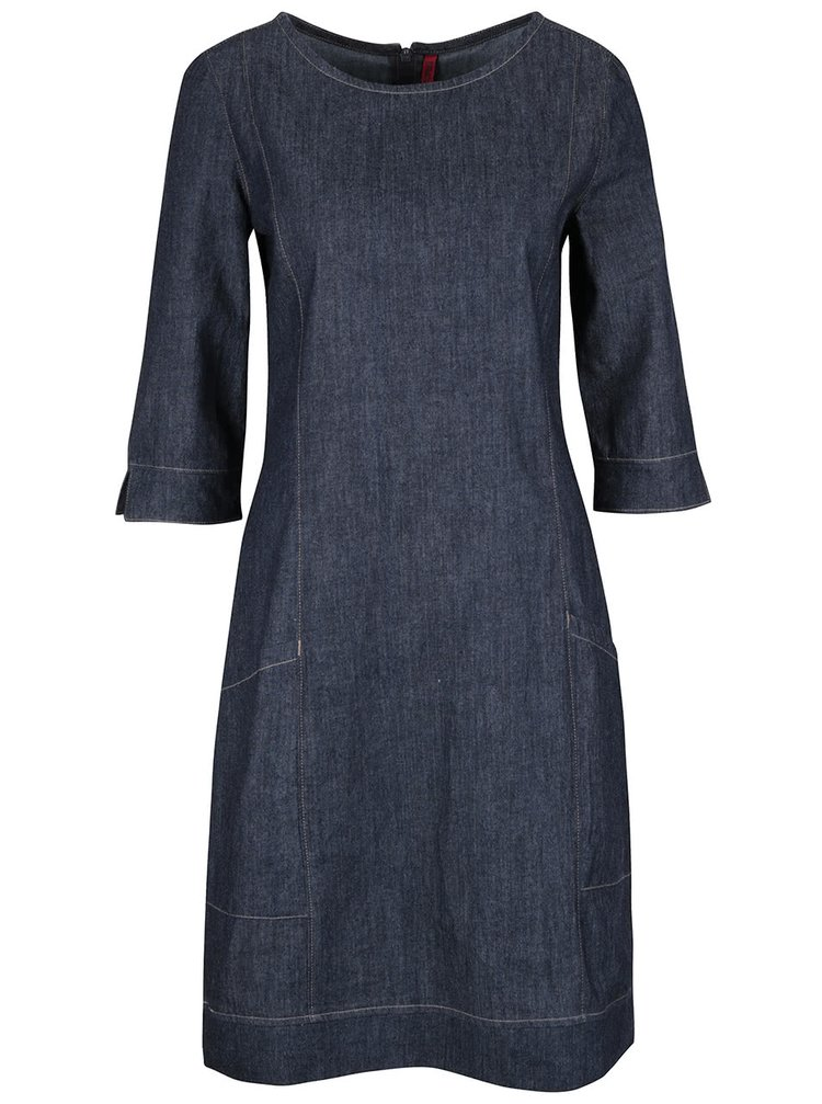 Modré rifľové šaty s 3/4 rukávmi Tranquillo Buri