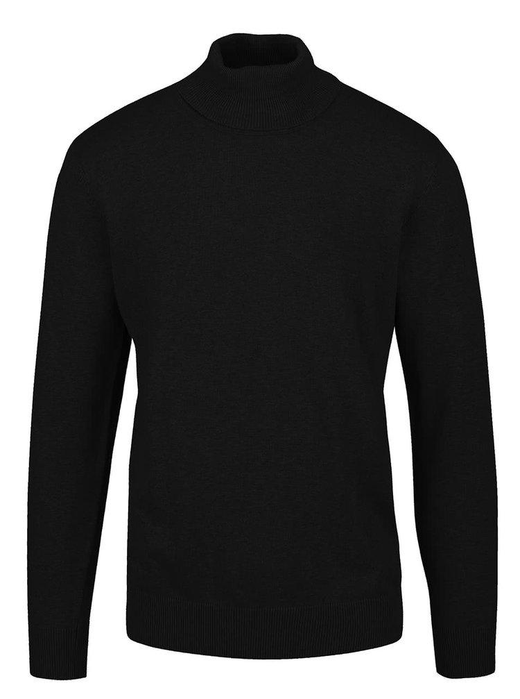 Čierny ľahký sveter s rolákom Shine Original