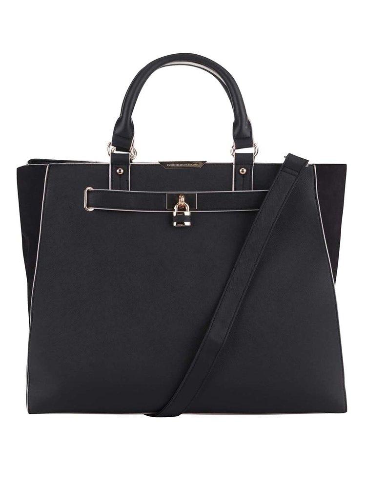 Černá velká kabelka s postranním pásem v semišové úpravě Dorothy Perkins