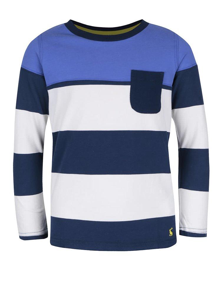 Krémovo-modré pruhované klučičí triko s náprsní kapsou Tom Joule Oscar