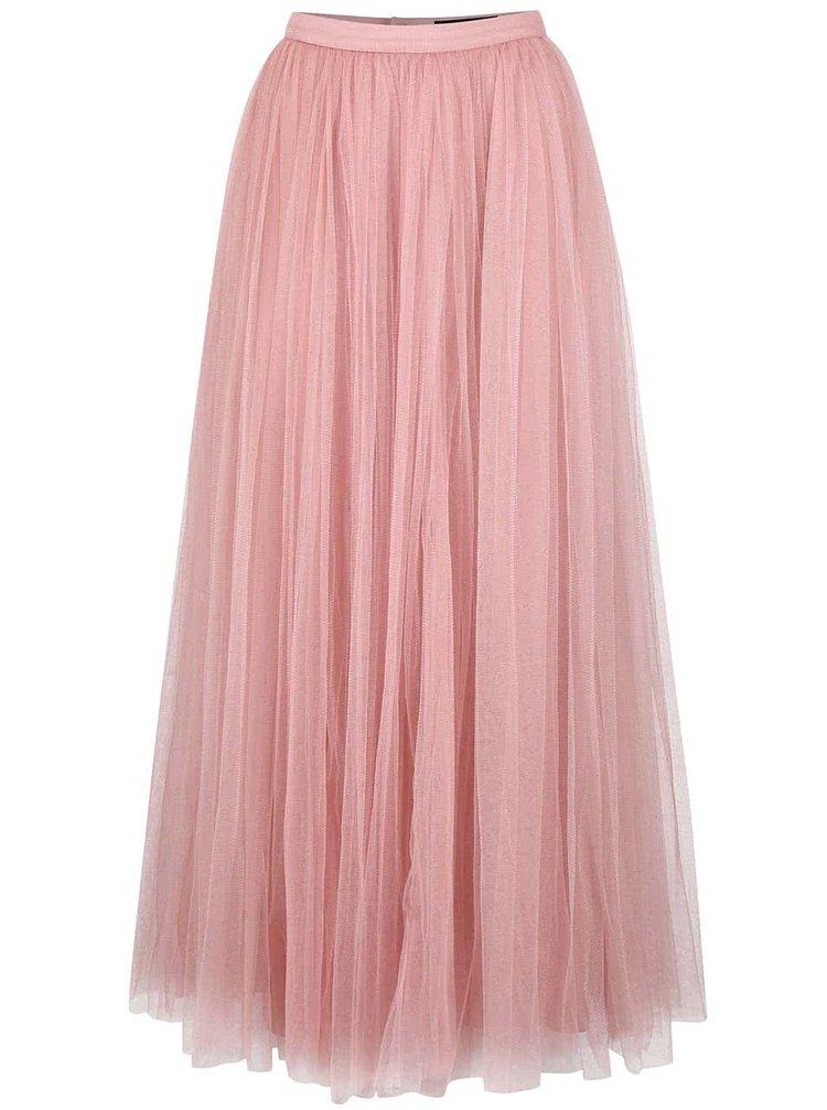 Ružová tylová maxi sukňa Little Mistress