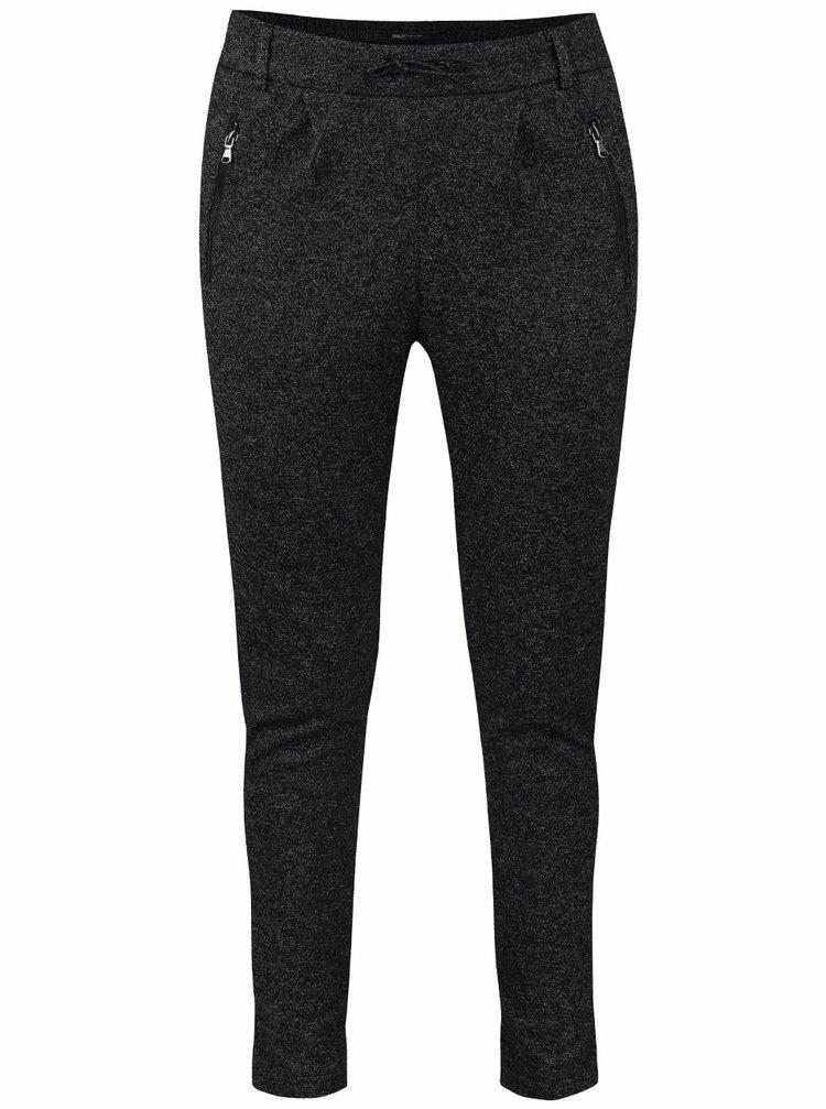 Tmavě šedé žíhané kalhoty s pasem na gumu ONLY Poptrash
