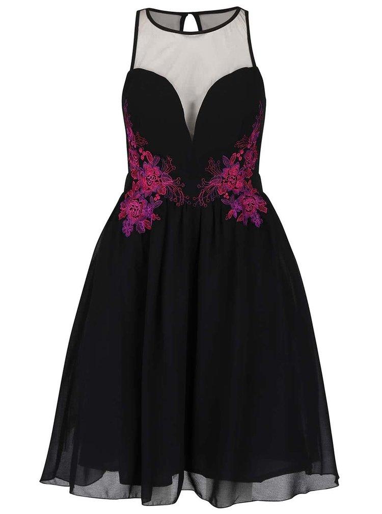 Černé šaty s fialovo-růžovou květinovou výšivkou Little Mistress