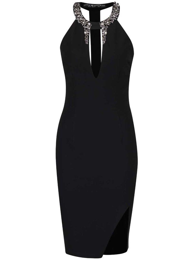 Čierne šaty s hlbokým dekoltom a flitrovými detailmi Little Mistress