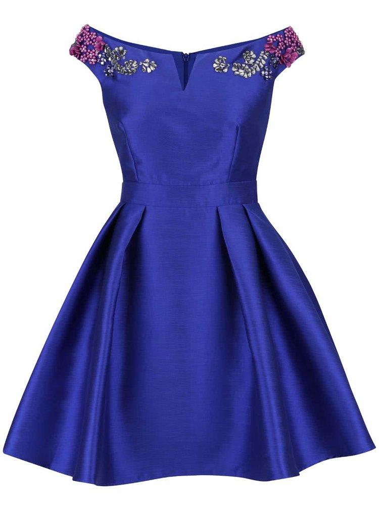 Modré lesklé šaty s farebnými kamienkami na ramenách Little Mistress