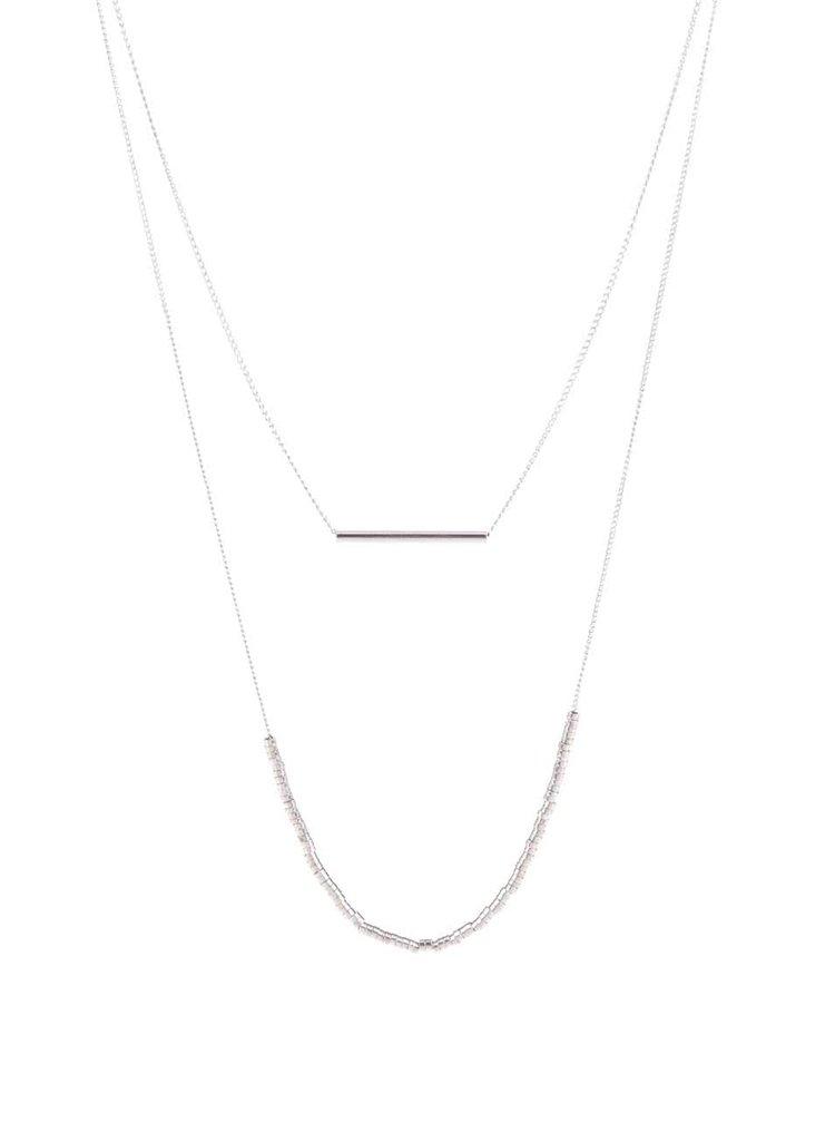 Kaskádovitý náhrdelník ve stříbrné barvě Pieces Peru